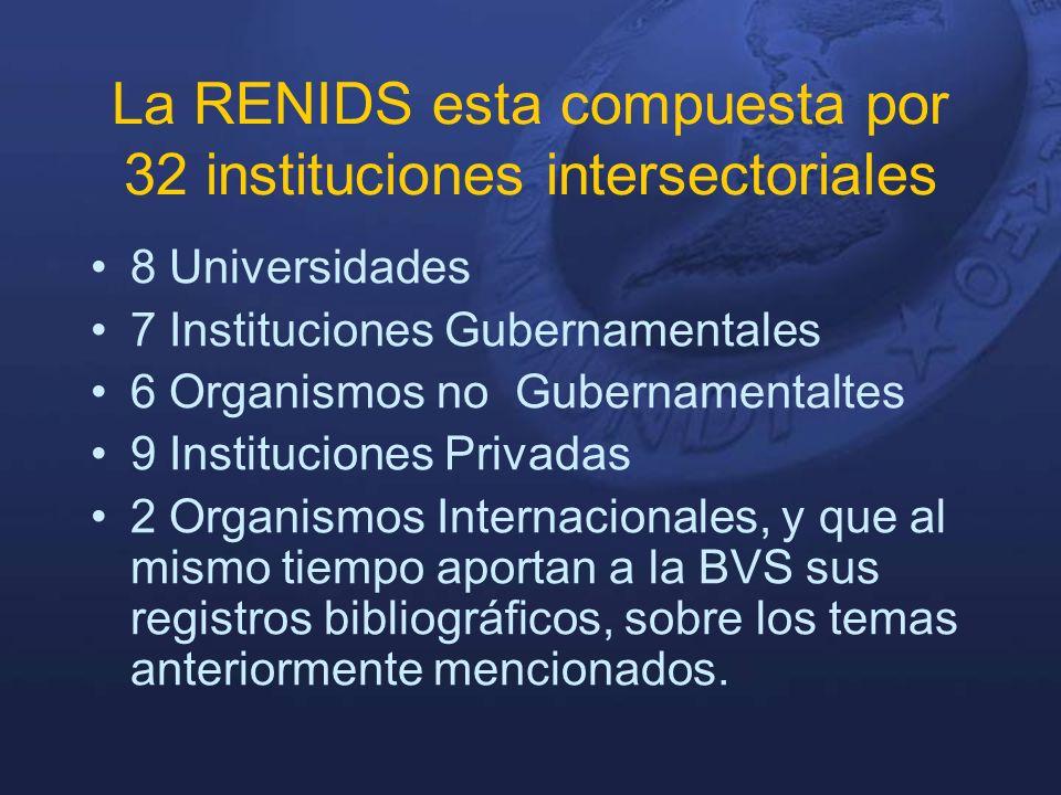 La RENIDS esta compuesta por 32 instituciones intersectoriales 8 Universidades 7 Instituciones Gubernamentales 6 Organismos no Gubernamentaltes 9 Instituciones Privadas 2 Organismos Internacionales, y que al mismo tiempo aportan a la BVS sus registros bibliográficos, sobre los temas anteriormente mencionados.