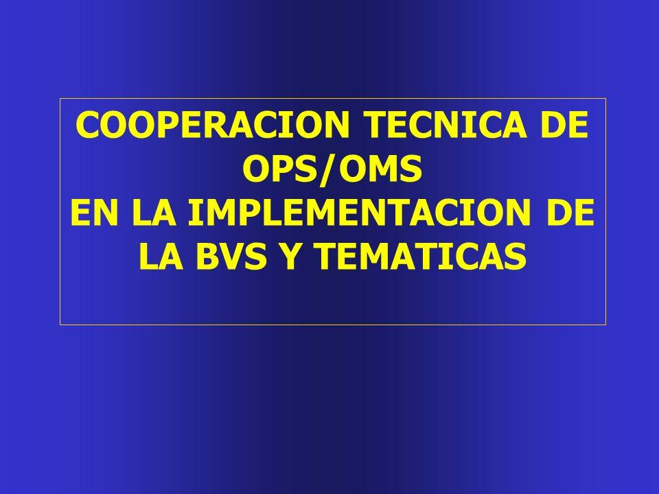 COOPERACION TECNICA DE OPS/OMS EN LA IMPLEMENTACION DE LA BVS Y TEMATICAS