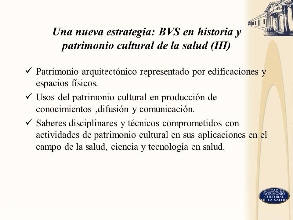Una nueva estrategia: BVS en historia y patrimonio cultural de la salud (III) Patrimonio arquitectónico representado por edificaciones y espacios físi