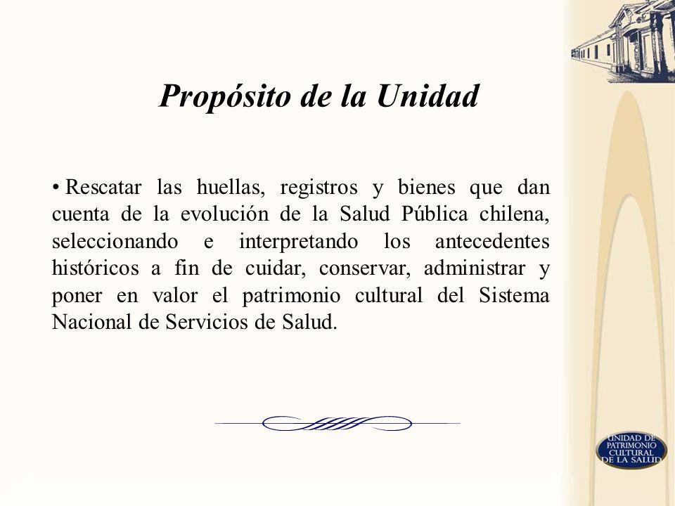 Rescatar las huellas, registros y bienes que dan cuenta de la evolución de la Salud Pública chilena, seleccionando e interpretando los antecedentes hi