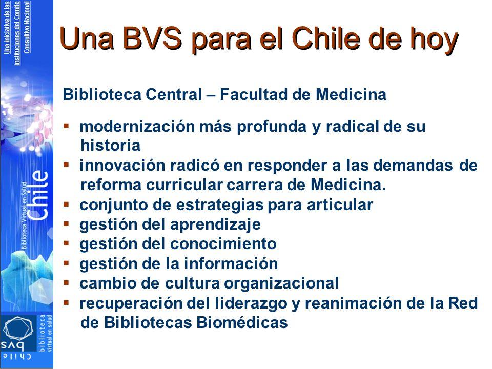 Una BVS para el Chile de hoy Biblioteca Central – Facultad de Medicina modernización más profunda y radical de su historia innovación radicó en respon