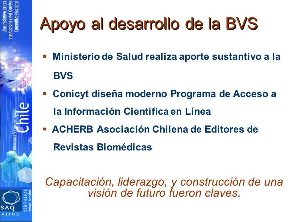 Apoyo al desarrollo de la BVS Ministerio de Salud realiza aporte sustantivo a la BVS Conicyt diseña moderno Programa de Acceso a la Información Científica en Línea ACHERB Asociación Chilena de Editores de Revistas Biomédicas Capacitación, liderazgo, y construcción de una visión de futuro fueron claves.