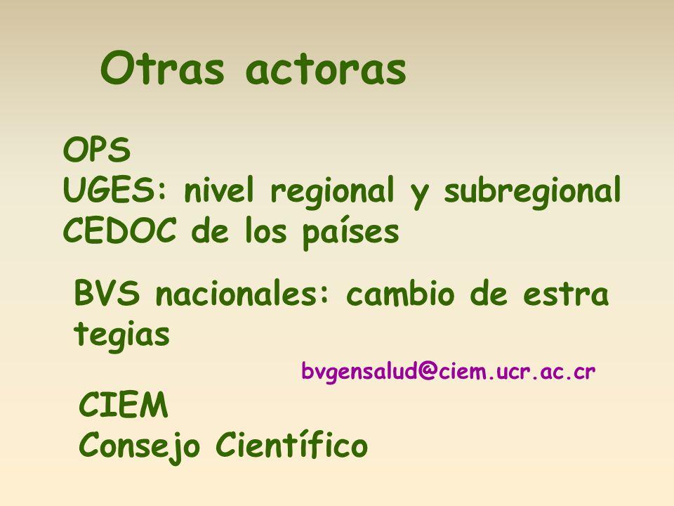 Otras actoras OPS UGES: nivel regional y subregional CEDOC de los países BVS nacionales: cambio de estra tegias CIEM Consejo Científico bvgensalud@ciem.ucr.ac.cr