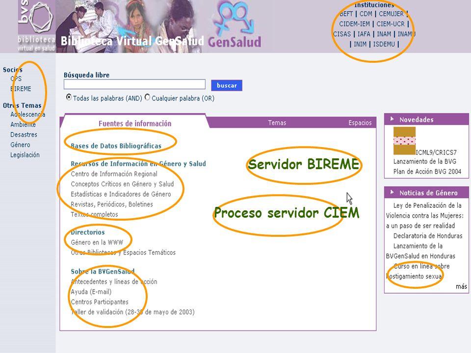 Servidor BIREME Proceso servidor CIEM