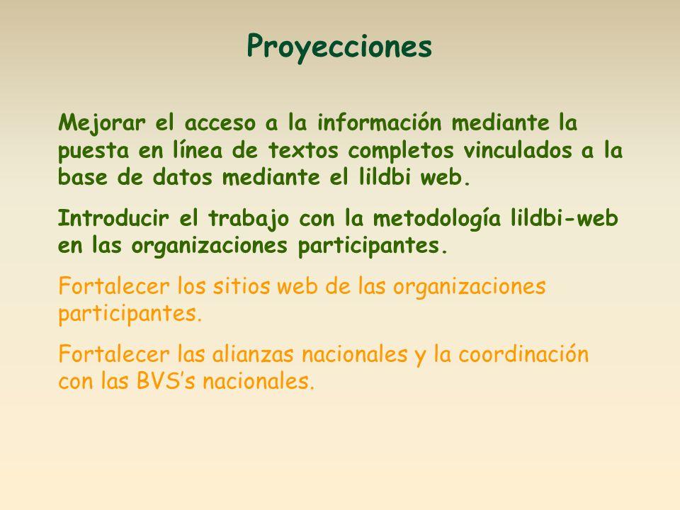 Proyecciones Mejorar el acceso a la información mediante la puesta en línea de textos completos vinculados a la base de datos mediante el lildbi web.