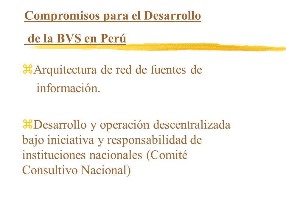 Compromisos para el Desarrollo de la BVS en Perú zArquitectura de red de fuentes de información. zDesarrollo y operación descentralizada bajo iniciati