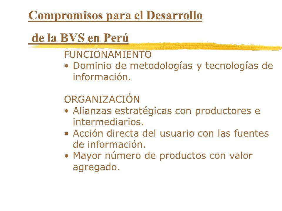 Compromisos para el Desarrollo de la BVS en Perú FUNCIONAMIENTO Dominio de metodologías y tecnologías de información. ORGANIZACIÓN Alianzas estratégic