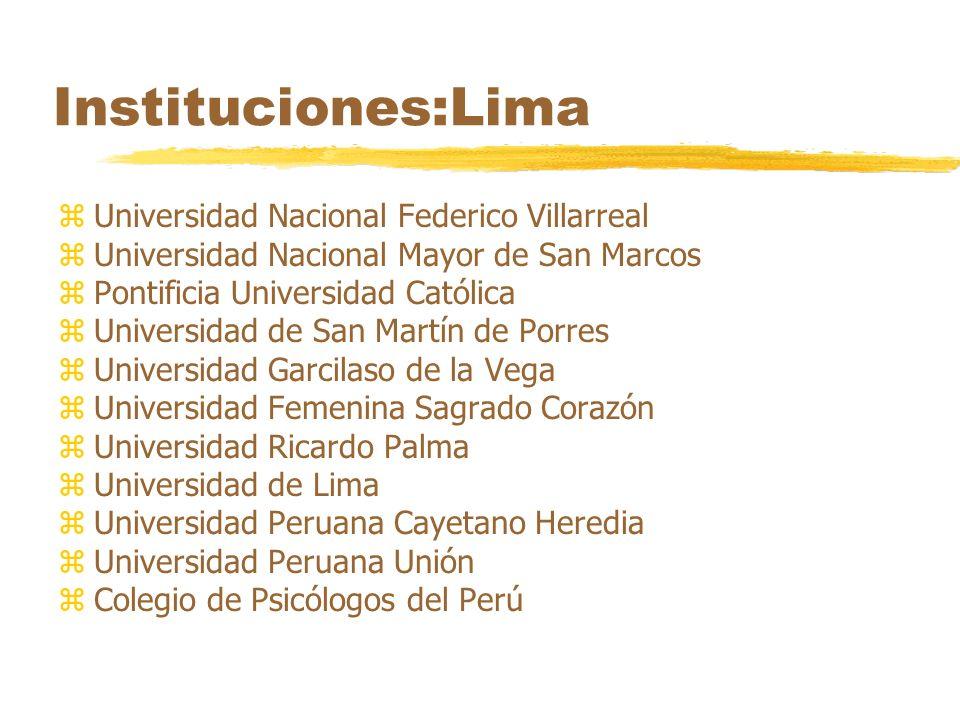 Instituciones:Lima zUniversidad Nacional Federico Villarreal zUniversidad Nacional Mayor de San Marcos zPontificia Universidad Católica zUniversidad d