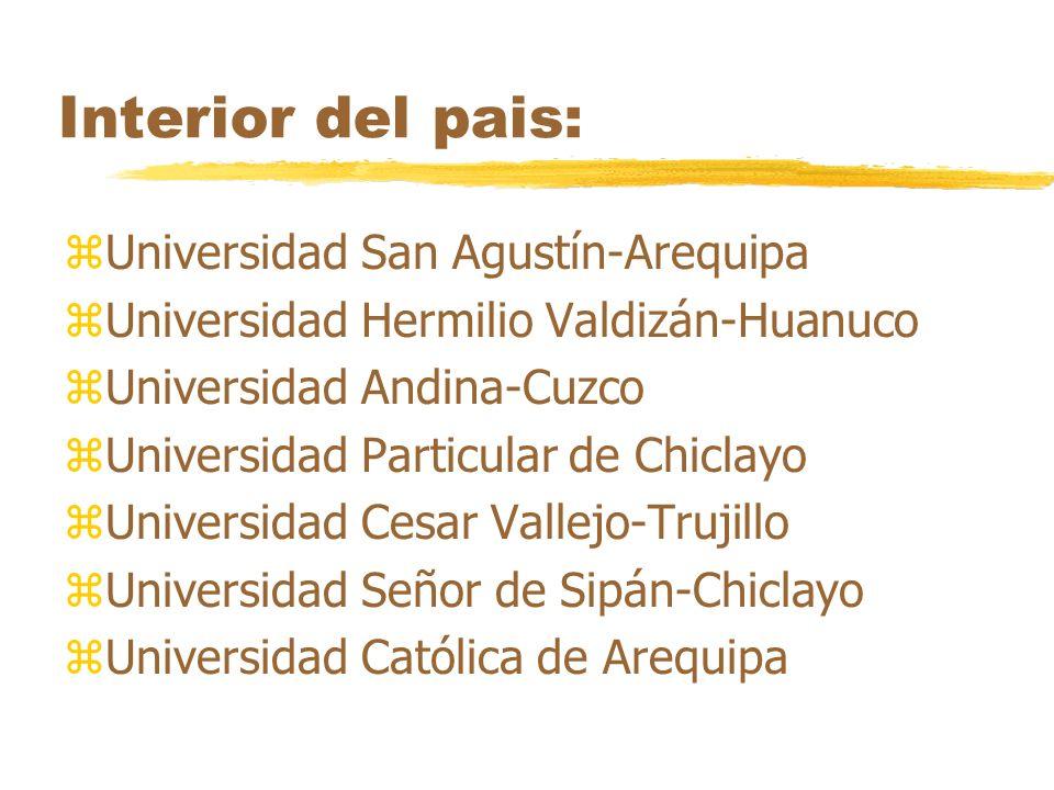 Interior del pais: zUniversidad San Agustín-Arequipa zUniversidad Hermilio Valdizán-Huanuco zUniversidad Andina-Cuzco zUniversidad Particular de Chicl