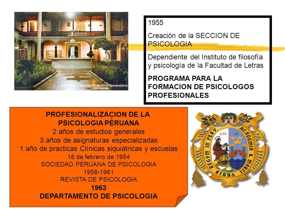 1955 Creación de la SECCION DE PSICOLOGIA Dependiente del Instituto de filosofía y psicología de la Facultad de Letras PROGRAMA PARA LA FORMACION DE P