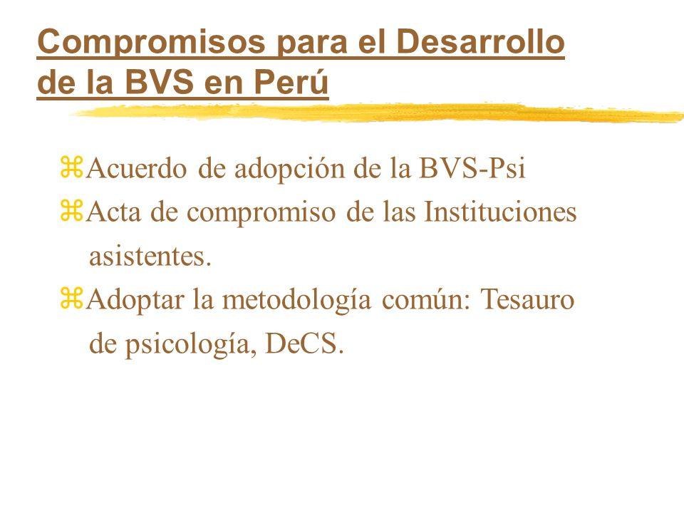 zAcuerdo de adopción de la BVS-Psi zActa de compromiso de las Instituciones asistentes. zAdoptar la metodología común: Tesauro de psicología, DeCS. Co