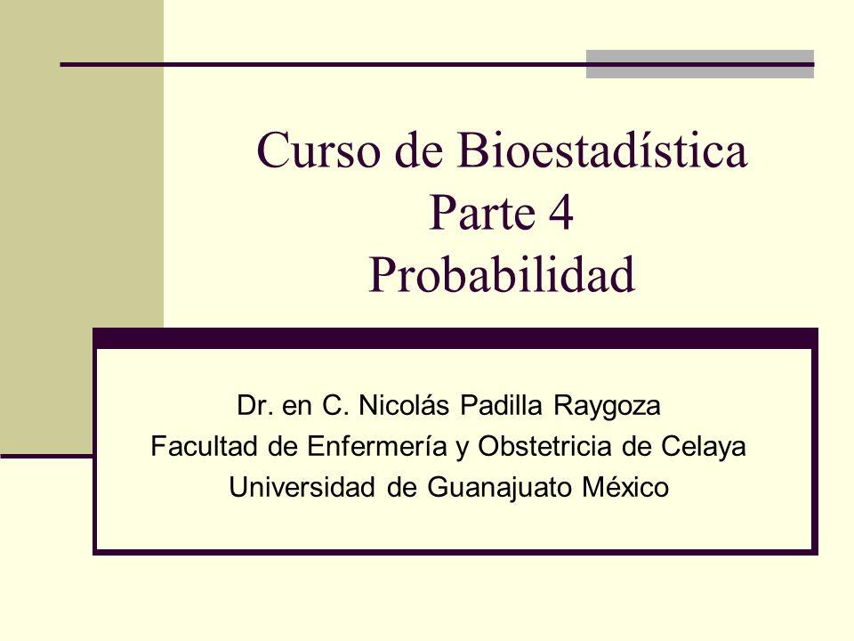 Curso de Bioestadística Parte 4 Probabilidad Dr. en C. Nicolás Padilla Raygoza Facultad de Enfermería y Obstetricia de Celaya Universidad de Guanajuat