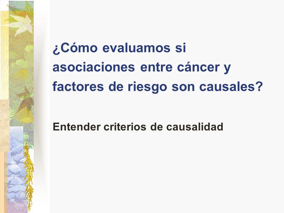 ¿Cómo evaluamos si asociaciones entre cáncer y factores de riesgo son causales? Entender criterios de causalidad