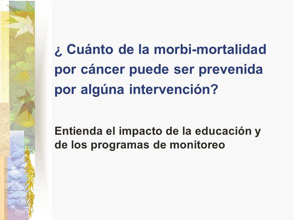 ¿ Cuánto de la morbi-mortalidad por cáncer puede ser prevenida por algúna intervención? Entienda el impacto de la educación y de los programas de moni