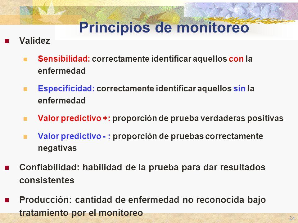 24 Principios de monitoreo Validez Sensibilidad: correctamente identificar aquellos con la enfermedad Especificidad: correctamente identificar aquello