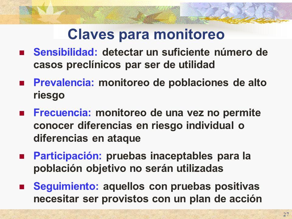 27 Claves para monitoreo Sensibilidad: detectar un suficiente número de casos preclínicos par ser de utilidad Prevalencia: monitoreo de poblaciones de