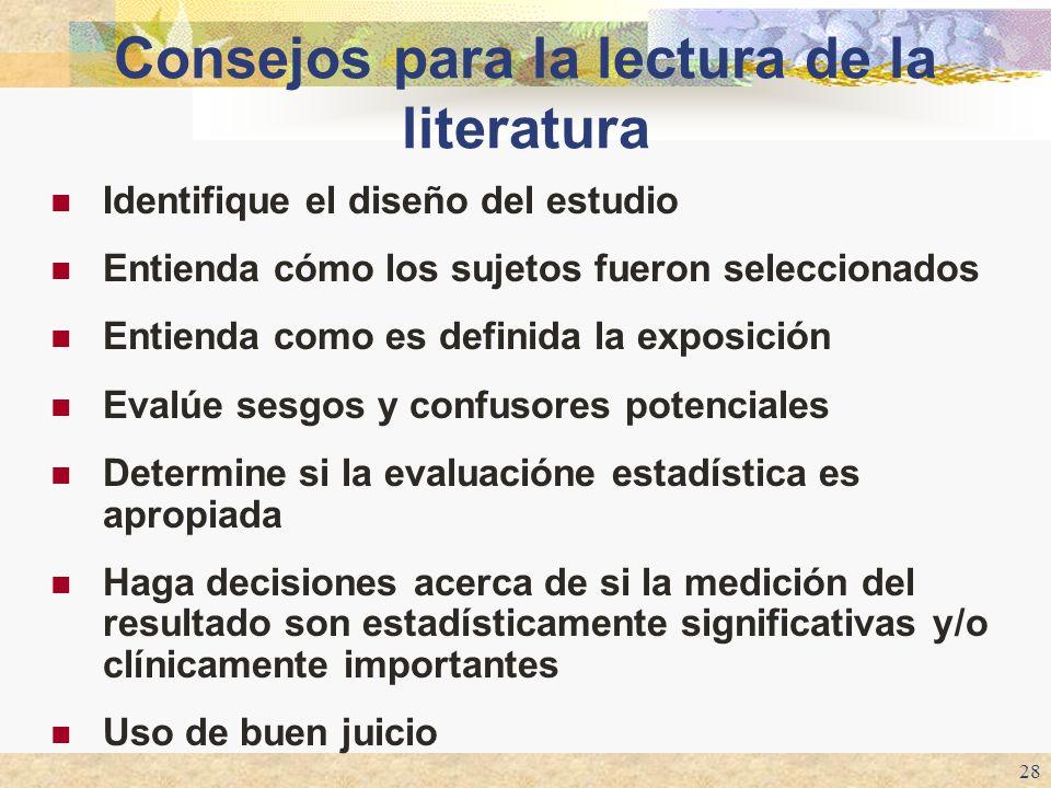 28 Consejos para la lectura de la literatura Identifique el diseño del estudio Entienda cómo los sujetos fueron seleccionados Entienda como es definid