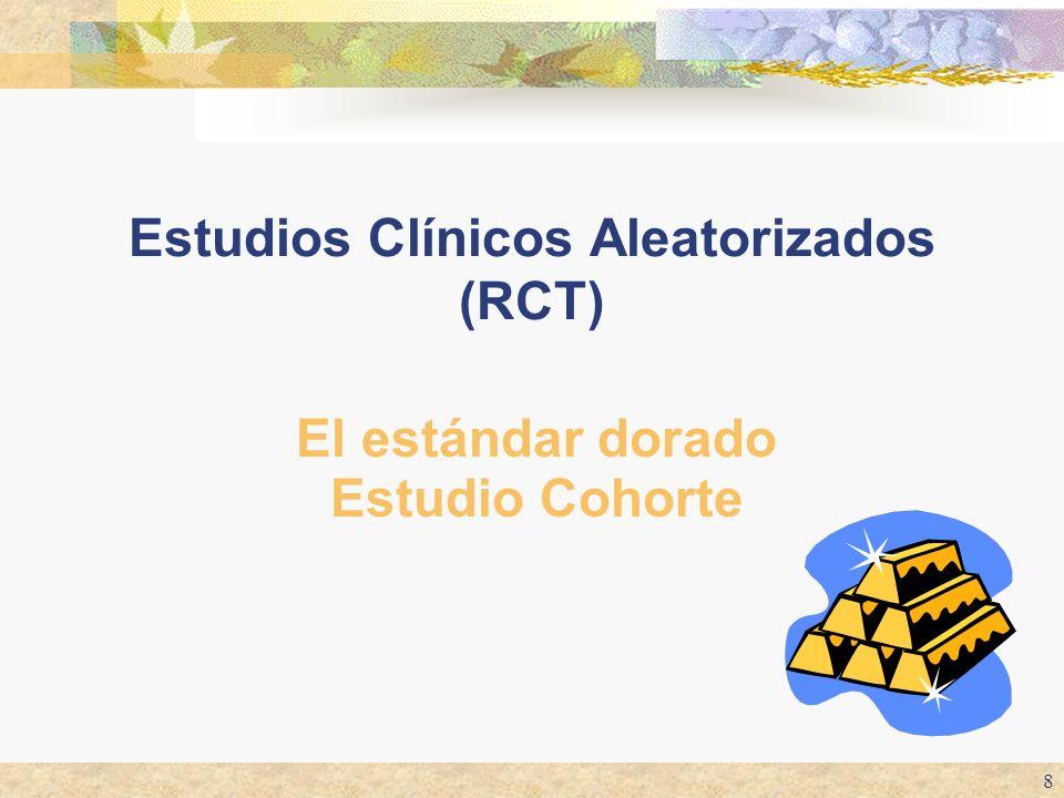 8 Estudios Clínicos Aleatorizados (RCT) El estándar dorado Estudio Cohorte