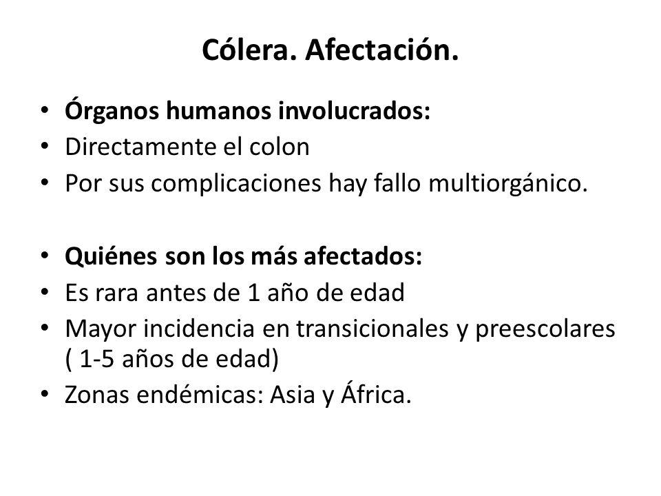 Cólera. Afectación. Órganos humanos involucrados: Directamente el colon Por sus complicaciones hay fallo multiorgánico. Quiénes son los más afectados: