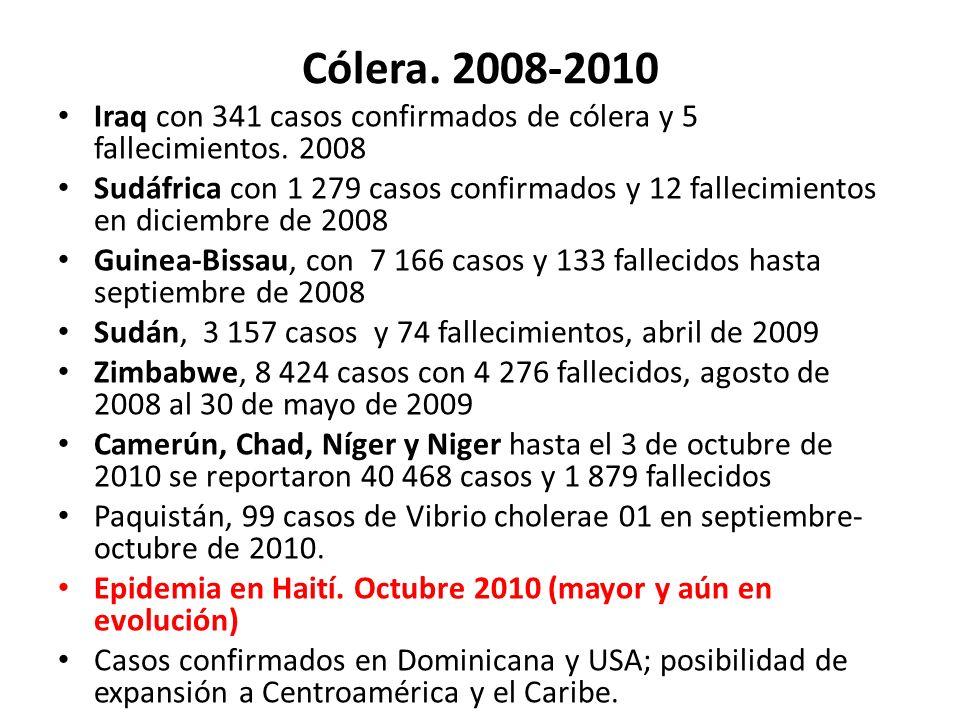 Cólera. 2008-2010 Iraq con 341 casos confirmados de cólera y 5 fallecimientos. 2008 Sudáfrica con 1 279 casos confirmados y 12 fallecimientos en dicie