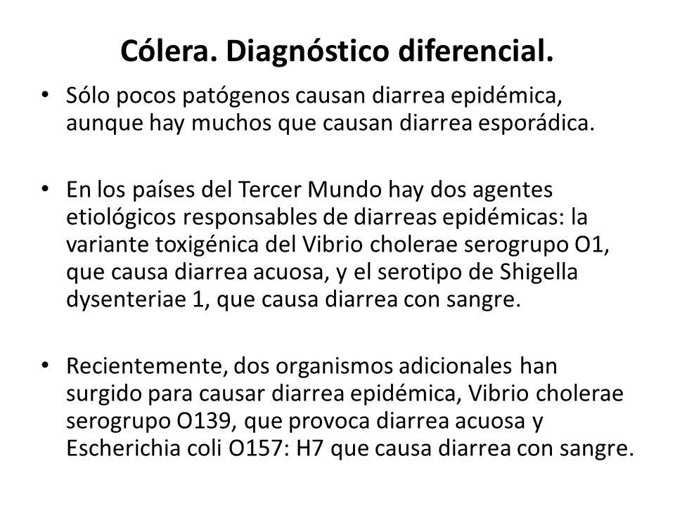 Cólera. Diagnóstico diferencial. Sólo pocos patógenos causan diarrea epidémica, aunque hay muchos que causan diarrea esporádica. En los países del Ter
