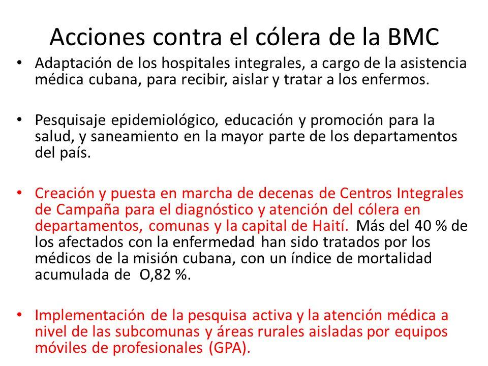 Acciones contra el cólera de la BMC Adaptación de los hospitales integrales, a cargo de la asistencia médica cubana, para recibir, aislar y tratar a l
