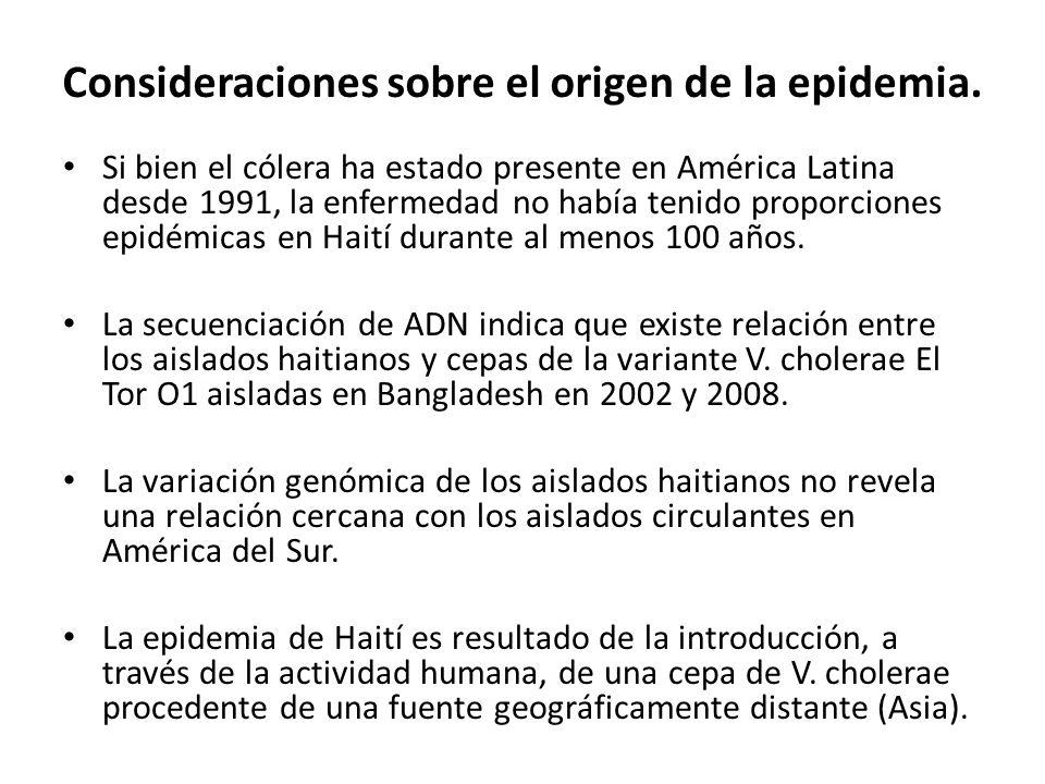 Consideraciones sobre el origen de la epidemia. Si bien el cólera ha estado presente en América Latina desde 1991, la enfermedad no había tenido propo