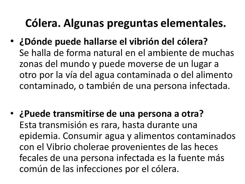 Cólera. Algunas preguntas elementales. ¿ Dónde puede hallarse el vibrión del cólera? Se halla de forma natural en el ambiente de muchas zonas del mund