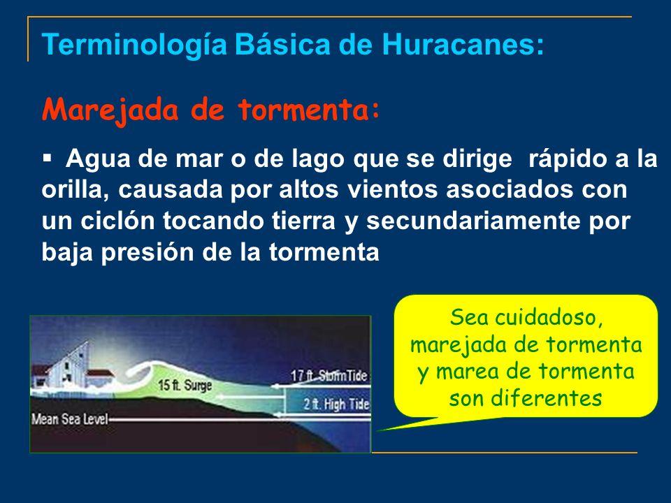 Terminología Básica de Huracanes: Marejada de tormenta: Agua de mar o de lago que se dirige rápido a la orilla, causada por altos vientos asociados co