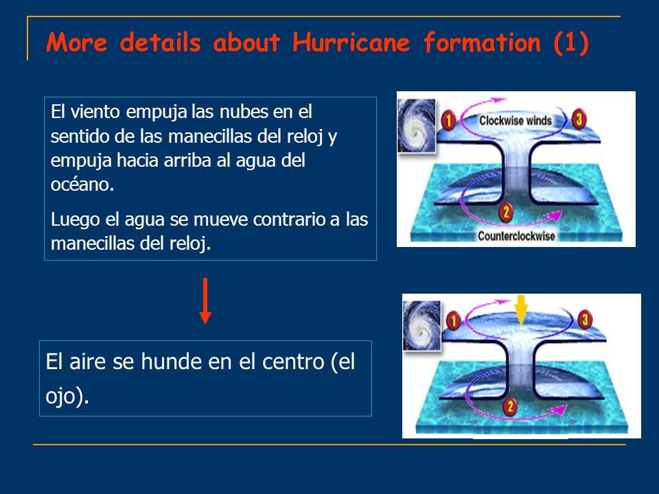 More details about Hurricane formation (1) El viento empuja las nubes en el sentido de las manecillas del reloj y empuja hacia arriba al agua del océa