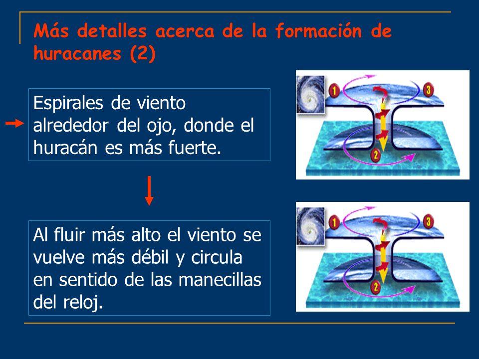 Espirales de viento alrededor del ojo, donde el huracán es más fuerte. Al fluir más alto el viento se vuelve más débil y circula en sentido de las man