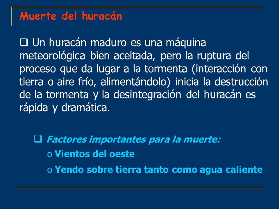 Muerte del huracán Un huracán maduro es una máquina meteorológica bien aceitada, pero la ruptura del proceso que da lugar a la tormenta (interacción c