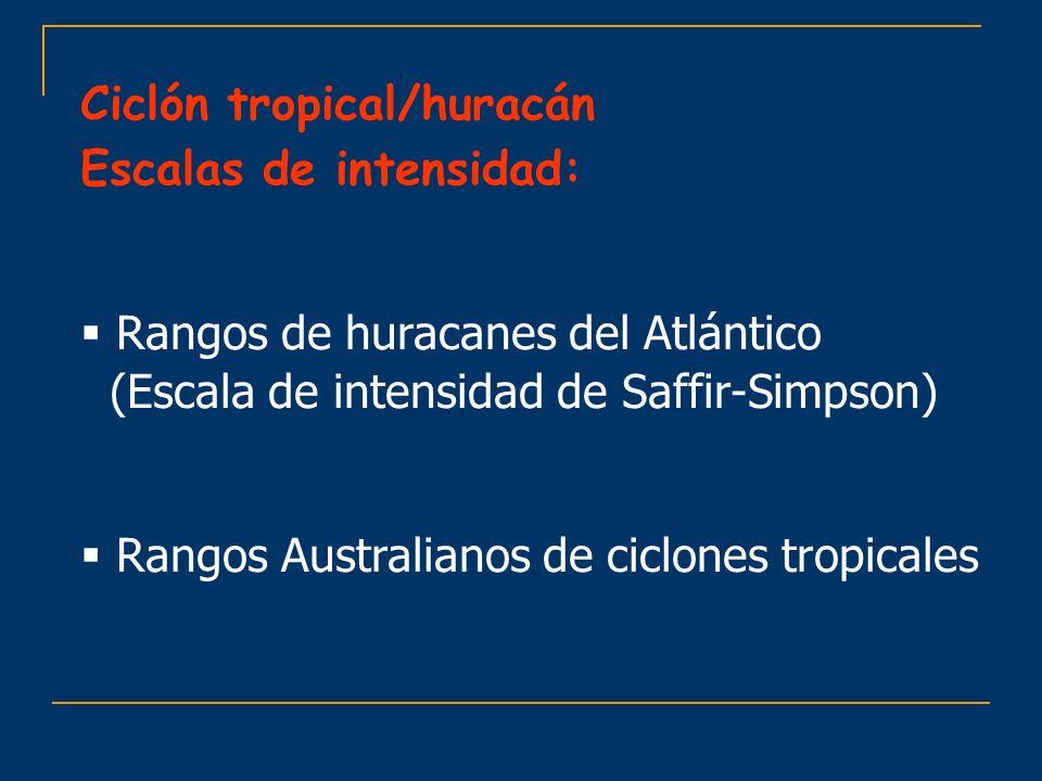 Ciclón tropical/huracán Escalas de intensidad: Rangos de huracanes del Atlántico (Escala de intensidad de Saffir-Simpson) Rangos Australianos de ciclo