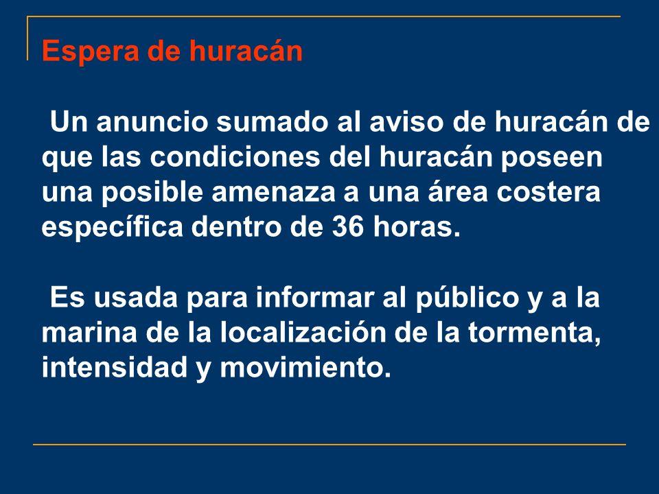 Espera de huracán Un anuncio sumado al aviso de huracán de que las condiciones del huracán poseen una posible amenaza a una área costera específica de