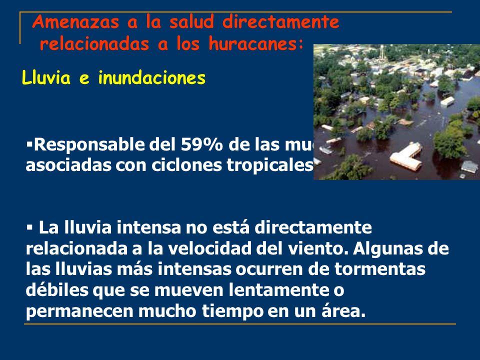 Amenazas a la salud directamente relacionadas a los huracanes: Lluvia e inundaciones Responsable del 59% de las muertes asociadas con ciclones tropica