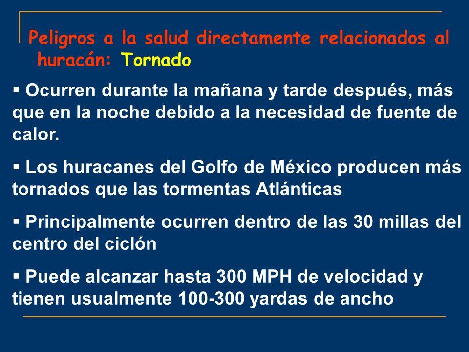 Peligros a la salud directamente relacionados al huracán: Tornado Ocurren durante la mañana y tarde después, más que en la noche debido a la necesidad