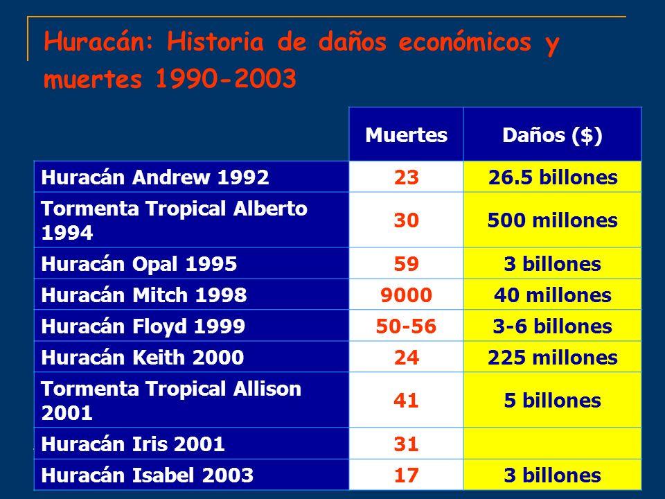Huracán: Historia de daños económicos y muertes 1990-2003 Daños ($)Muertes 26.5 billones23Huracán Andrew 1992 500 millones30 Tormenta Tropical Alberto