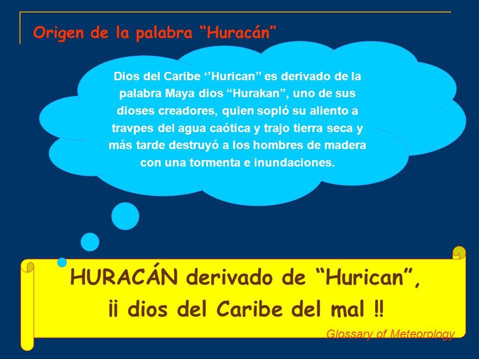 Origen de la palabra Huracán HURACÁN derivado de Hurican, ¡¡ dios del Caribe del mal !! Glossary of Meteorology Dios del Caribe Hurican es derivado de