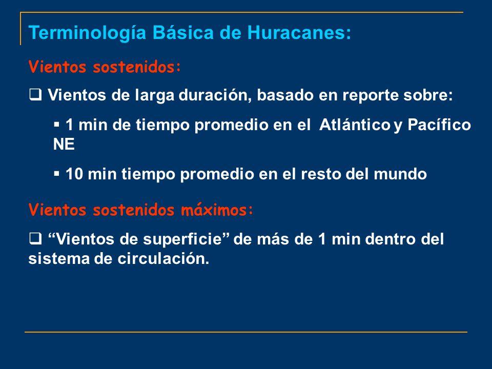 Terminología Básica de Huracanes: Vientos sostenidos: Vientos de larga duración, basado en reporte sobre: 1 min de tiempo promedio en el Atlántico y P