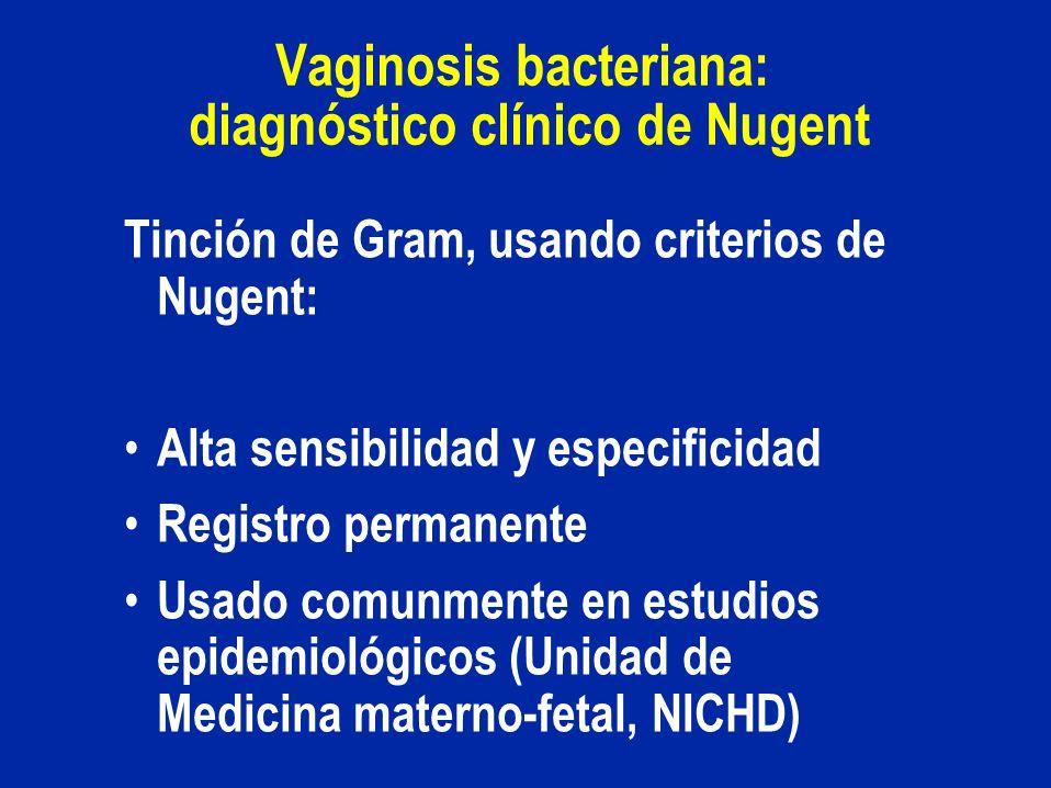 Vaginosis bacteriana: diagnóstico clínico de Nugent Tinción de Gram, usando criterios de Nugent: Alta sensibilidad y especificidad Registro permanente