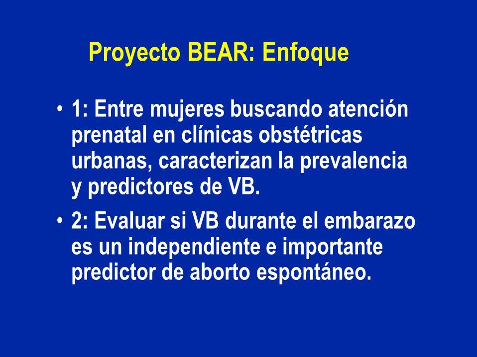 Proyecto BEAR: Enfoque 1: Entre mujeres buscando atención prenatal en clínicas obstétricas urbanas, caracterizan la prevalencia y predictores de VB. 2