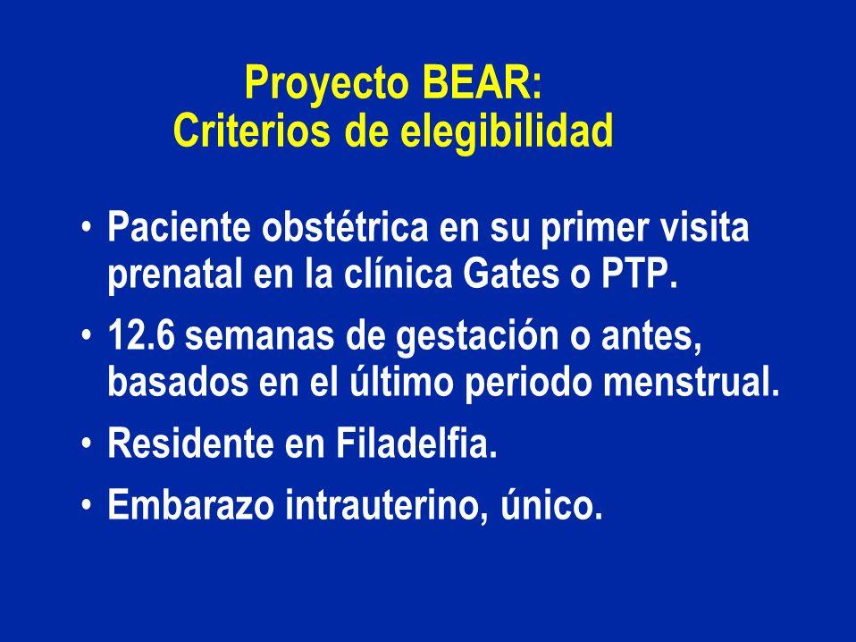 Proyecto BEAR: Criterios de elegibilidad Paciente obstétrica en su primer visita prenatal en la clínica Gates o PTP. 12.6 semanas de gestación o antes