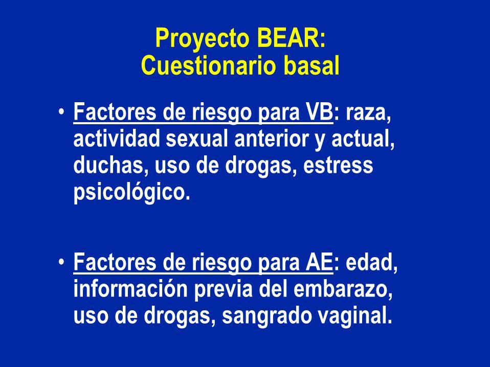 Proyecto BEAR: Cuestionario basal Factores de riesgo para VB: raza, actividad sexual anterior y actual, duchas, uso de drogas, estress psicológico. Fa