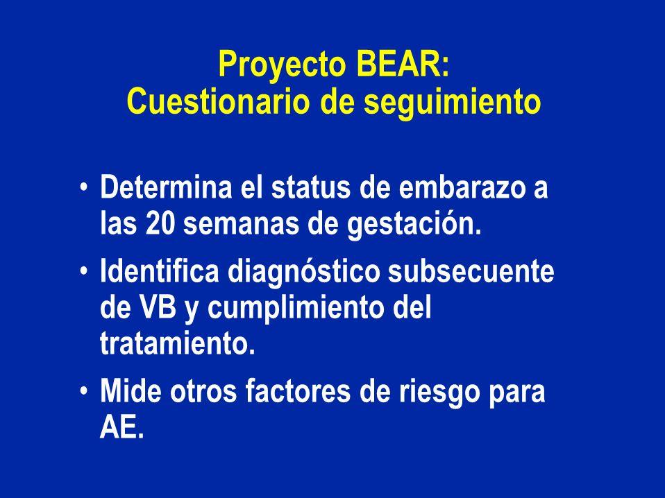 Proyecto BEAR: Cuestionario de seguimiento Determina el status de embarazo a las 20 semanas de gestación. Identifica diagnóstico subsecuente de VB y c