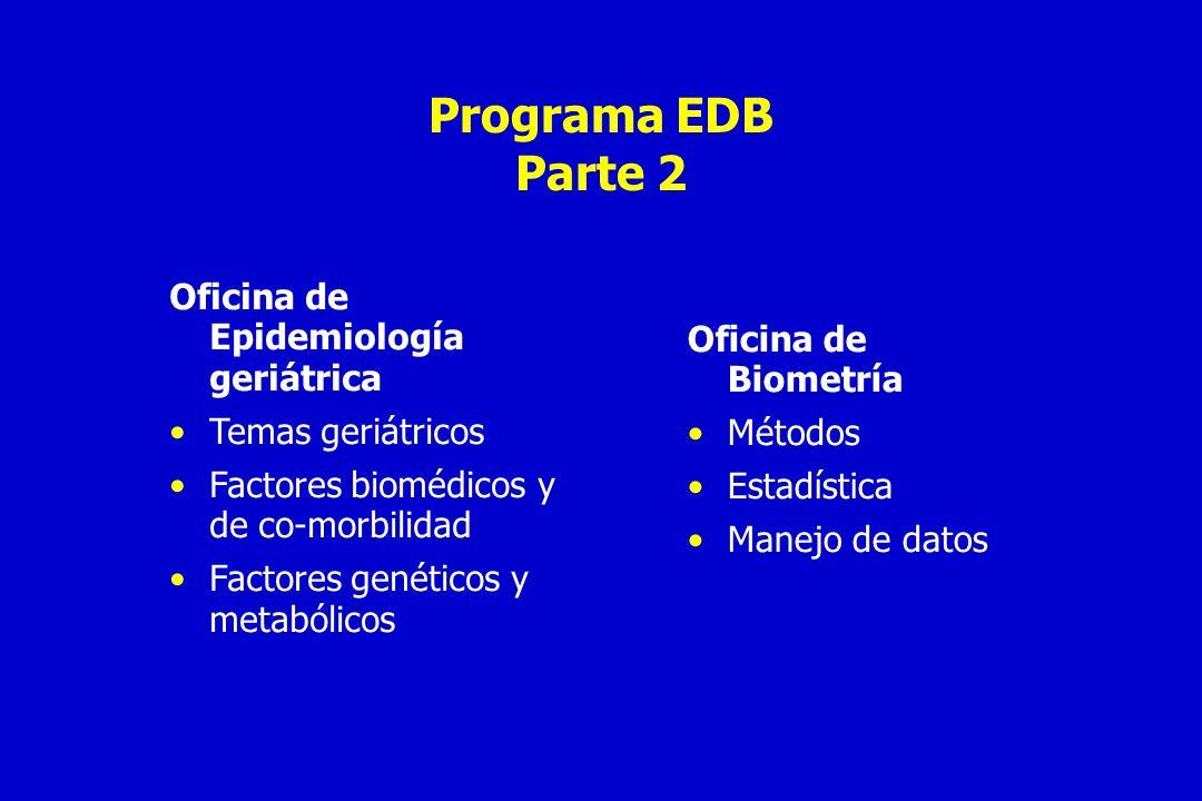 Estudios de utilidad del programa de EDB Elucidar la etiología de enfermedades combinando datos epidemiológicos con información de otras disciplinas.