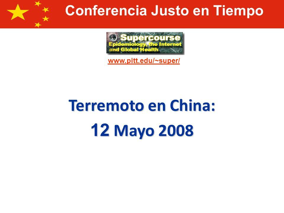 Magnitud: 7.9 escala de Richter Tiempo local del terremoto: 14.48 tiempo de Beijing Localización: 30.986°N, 103.364°E Profundidad: 19 km (11.8 millas) Terremoto al Oeste de Sichuan, 12 Mayo 2008
