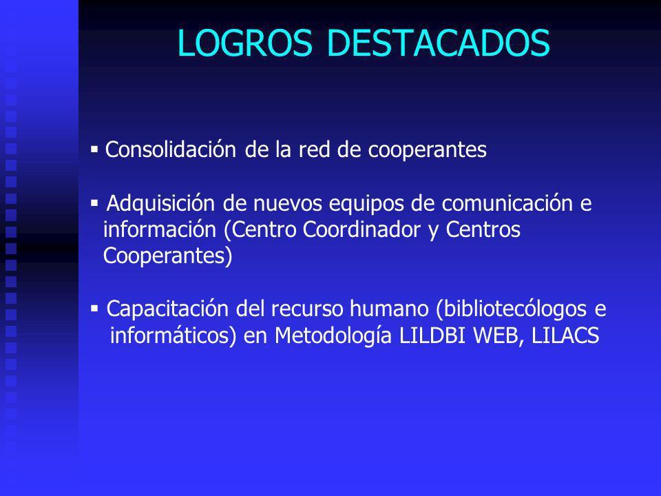 LOGROS DESTACADOS Consolidación de la red de cooperantes Adquisición de nuevos equipos de comunicación e información (Centro Coordinador y Centros Coo