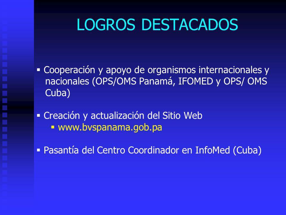LOGROS DESTACADOS Cooperación y apoyo de organismos internacionales y nacionales (OPS/OMS Panamá, IFOMED y OPS/ OMS Cuba) Creación y actualización del