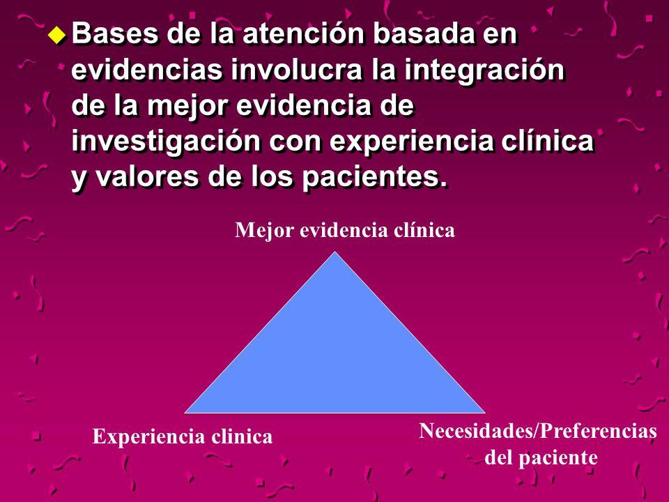 u Bases de la atención basada en evidencias involucra la integración de la mejor evidencia de investigación con experiencia clínica y valores de los p