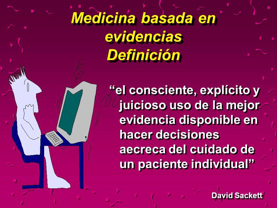 Medicina basada en evidencias Definición el consciente, explícito y juicioso uso de la mejor evidencia disponible en hacer decisiones aecreca del cuid